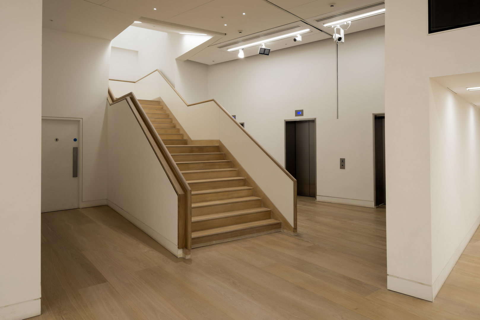 a staircase that had the capacity to hold up to 300 people at the same time- large solid quarter sawn English Oak floor planks-
